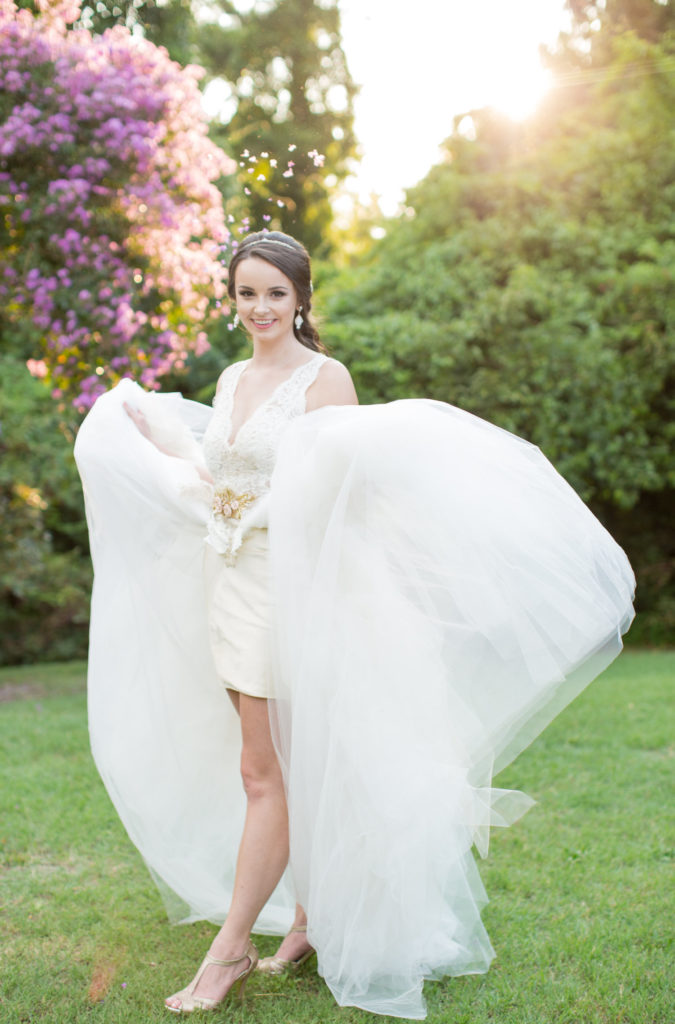 Two piece bridal gown from London and Lace located in Columbia SC. Shoot designed and styled by Avila Dawn Events