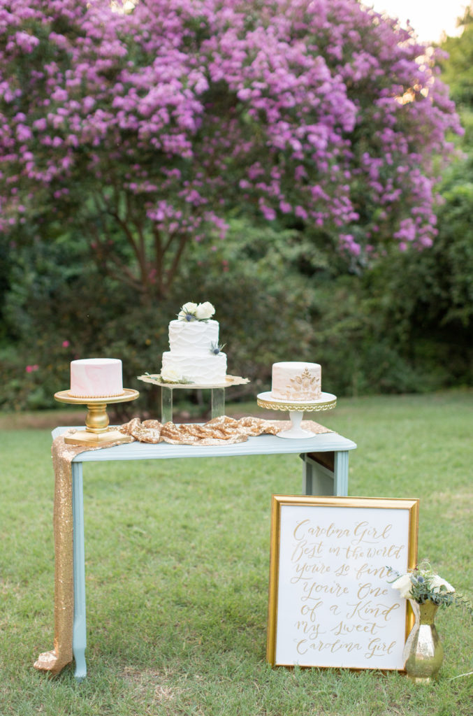 Dessert bar created for styled shoot held at the Corley Mill House that was designed and styled by Avila Dawn Events based out of Columbia, SC